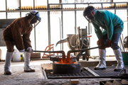 HSU students work in the foundry