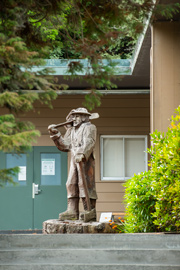 Lumberjack statue outside the forestry building