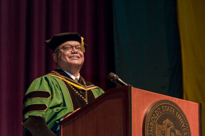 President Jackson at the podium at Investiture