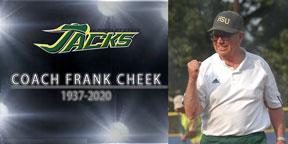 Photo of Coach Frank Cheek with HSU Jacks logo