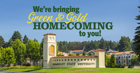 HSU front gate monument sign with homecoming logo above it