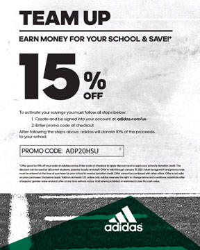 Team up - earn money for your school and save - Adidas flyer